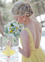Freeshipping! BMD046 Backless Elegant Yellow Lace Mini Sexy Bridesmaid Dresses Vestido De Festa