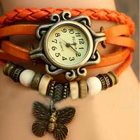 2014 Hot Sale Orange Women's Lady Girls Leather Vintage Style Butterfly Bracelet Gifts Quartz Wrist Watches, Free Shipping