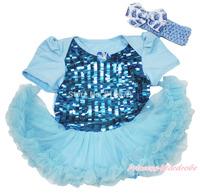 Bling Blue Sequins Princess Elsa Heart Bodysuit One Piece Girl Baby Dress NB-18M JS3334