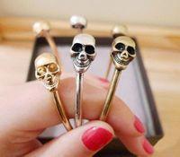 Hot fashion European American style punk style double Skull Bracelet charms  bangle  bracelet Punk jewelry SUPER DEALS JEWELRY