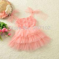 2014 new summer girl dress, ball gown, flower, princess dress, sleeveless, fashion layed, 5pcs/lot wholesale Free Shipping