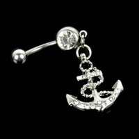 2014 Cool Women Body Anchor Dangle Belly Bar Navel Ring Fashion Jewelry Gift 6786 3F