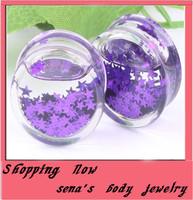 Trendy  liquid purple star flesh tunnel  free shipping mix 6~16mm 60pcs/lot acrylic ear plug body piercing