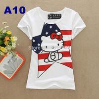 Loral summer cotton o-neck short sleeve T-shirt Women flocked Navy wind streaks kitty cat pattern tights sport t shirt women