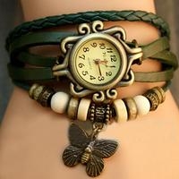 New Green Fashion Watches Women's Ladies Girls Hours Clock Cute Butterfly Christmas Gift Quartz Wrist Watches, Free Shipping