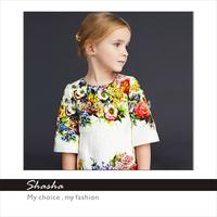 2014 Famous brand DG designers princess FLOWERS dress girls party dresses kids clothes children ROYAL Christmas clothing