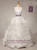 AWB4020 Scalloped Organza Sashes Long Ball Gown China Wedding Dress 2014 Custom Size Custom Color