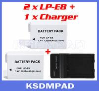 2 pcs lithium camera batterie + battery akku charger 1200 mAh LP-E8 LP E8 for Canon EOS 550D 600D Kiss X4 X5 Rebel T2 T2i DSLR