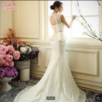 New 2014 fashion high waist wedding dress Qi Korean version was thin Bra fishtail diamond hs lace mermaid wedding dresses 406