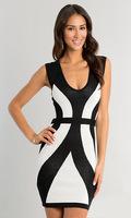 Free Shipping New  Women Sexy Bodycon Sleeveless Black and White Patchwork Bodycon Bandage Casual Mini Dress