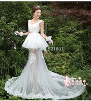 wedding dresses 2014 New Slim waist strap perspective trailing lace wedding dress vestido de noiva fashionable bridal gown 405