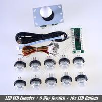 NEW Reyann White Arcade Control Panel LED Illuminated Bundle Kit , 1 Joysticks, 10 LED Illuminated push Buttons for USB MAME DIY