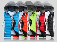New 2014 Autumn Winter Casual Hooded Couples Vests High Quality Cotton-padded Sleeveless Jackets coat Mens Slim Waistcoat