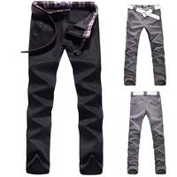 New Korea Men's Straight Slim Fit Jean Lattice Trousers Check Casual Long Pants  free shipping