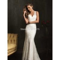 Mermaid V-neck Lace Long Wedding Dress With Beading HWGJMWD5