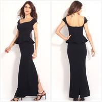 Free shipping 2014 women Career cotton dress Plus Size M-L Short Sleeve Elegant Bodycon Formal Ruffles Black Maxi Dresses
