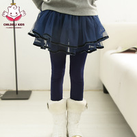 2014 female child legging spring and autumn faux two piece skorts child trousers child culottes