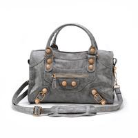 2014 women's handbag gold ingot portable Medium city shoulder bag punk rivet rose gold motorcycle bag