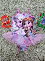 5pcs/lot Girls Baby Cartoon Frozen Swimwear Toddler Swimsuit Princess Anna Elsa One-piece Tankini Bathing Bather Beachwear