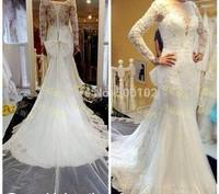 2014 Elegant Design Jewel Illussion V Neck Appliqued Beaded Long Sleeve Mermaid Wedding Dresses