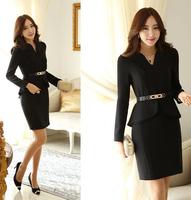 Free shipping Winter 2014 women Career Formal dress Plus Size S-XXL Long Sleeve Elegant Short Black/Khaki Bodycon Ruffles Dress