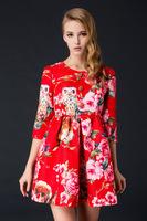Free shipping 2014 new fashion Autuman woman red flower cute owl print three quarter sleeve A line dress