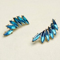 Free Shipping Fashion Wings Shape Gold Plated Inlay Blue Rhinestone Women Exaggerated Earring