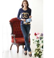 Foreign trade of the original single long-sleeved t-shirt blouse body shirt Autumn 2014 Slim Korean women's t-shirt