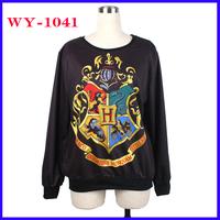 Fashion Harry Potter Women Hoodies O-Neck Long Sleeve Women Sweatshirts Cartoon Animal Black Sweatshirts Pullover WY-1041