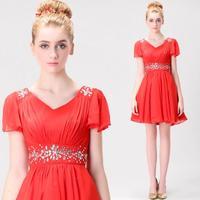 fashion women V-neck Was thin crystal dress Bridesmaid dresses 2014 The most popular chiffon vestido de madrinha plus size 086