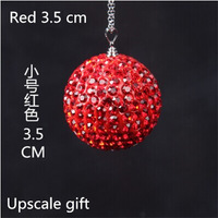 The new high-grade red car rearview mirror ornaments lucky crystal ball diamond jewelry diamond ball pendant