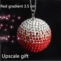 Red gradient 3.5 cm rearview mirror ornaments lucky crystal ball diamond jewelry diamond ball pendant