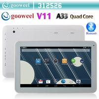 Gooweel V11 Allwinner A33 Quad core 1.3GHz tablet pc 10.1inch 1G/ 8GB Android4.4 Kitkat WIFI Dual Camera Bluetooth OTG