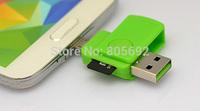500pcs/lot  USB + Micro USB Mobile Phones OTG TF Card Reader Connection Kit