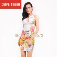 (DEIVE TEGER )Free shipping 2014  print floral pattern  DRESS  pencil  bandage dress Party Evening Dresses  HL1155
