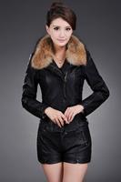 Women fashion Long sleeve Autumn Plus Size Slim fashion raccoon fur collar jacket 5Sizes