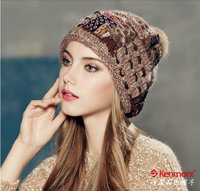 free shipping 2014 new Kenmont autumn winter Wool hat women south korean winter knitting hat pile of pile winter cap km-1635