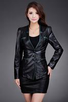 2014 Haining leather stitching pu leather women jacket Slim Short Blazer 3colors 5sizes Free shipping