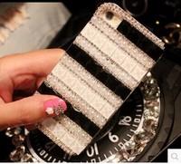 Free shipping  pearl diamond black side stones rhinestone claw chain mobile phone shell