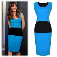 2014 summer  women's European and American big hit color stitching package hip dress was thin waist round neck dress women