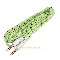 R1B1 1M Woven 3.5mm Male to 3.5mm Male Audio Cable Cord for PC iPhone MP4 Green