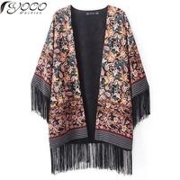 New Autumn 2014 New Europe and United States Woman's Shirt Fashion Retro Print Tassel Kimono Cardigans Coat  6517