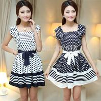 Summer New Elegant Plus Size Women Slim Polka Dot Striped Dress Sexy Mini Formal Prom Party Dresses Gowns