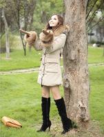 2014 New brand Winter Jacket women Fashion long Coat Women Thick warm outwear Fur hooded cotton wool parka plus size S-XL