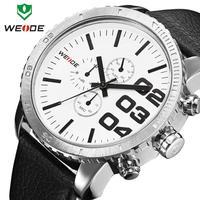 2014 WEIDE Mens Japan Quartz Watch Military Watch Sport Genuine Leather Strap Watch 30 Meters Waterproofed12-month Guarantee
