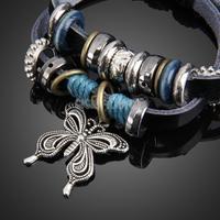Beautiful Butterfly Pendant Girl Lady Braid Bracelet String Band Bangle     #gib