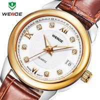WEIDE 2014 new luxury brand genuine leather straps watches calendar analog crystal diamond casual sports women dress watches