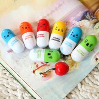 Cute Face Capsule Pen Retractable Pill Pen Six Color Best Gift For Friend 50pcs/lot
