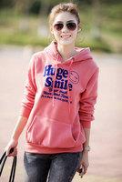 2014 Free Shipping Hot sale!! Women's Hooded Sweatshirts Letter Printed Outwear Hoodies Fleece Fashion Cartoon Coat 617# M-3XL