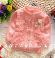 hot selling new 2014 autumn bear baby clothing new born infant toddler baby girls sweater cardigan sweaters flowers yellow/red